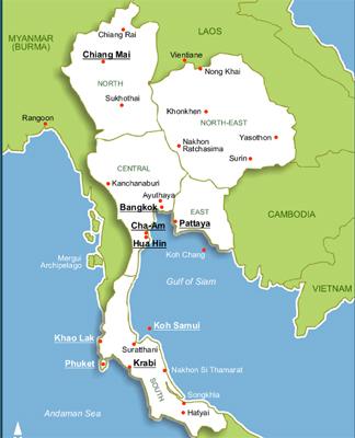 Mapa de Tailanda. Viajes Tailandia. Viajar a Tailandia. Viajes a ...