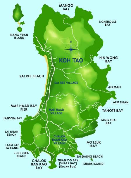Mapa de la Isla de Koh Tao