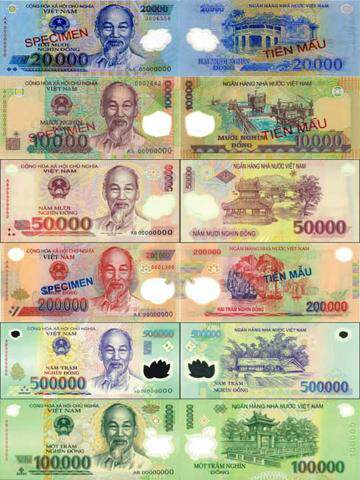 Billetes de Vietnam Dongs