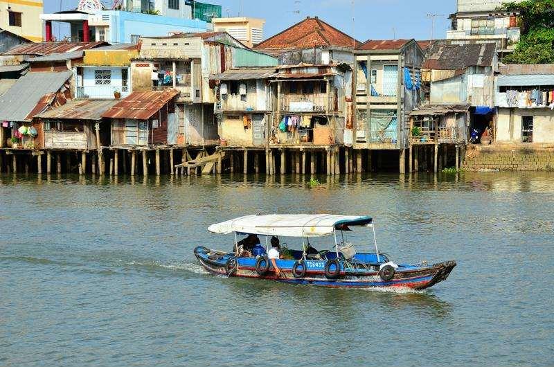 Localidad de Ben Tre en el Delta del Mekong