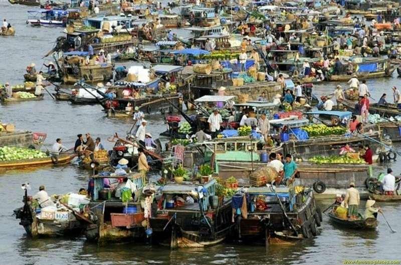 Mercado de Cai Rang en el delta del Mekong