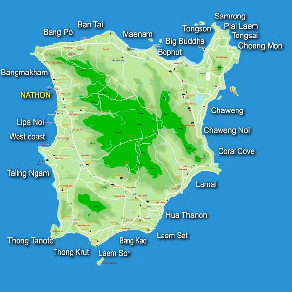 Mapa de las playas de Koh Samui