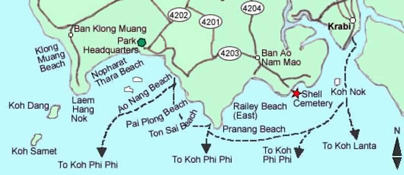 krabi mapa Mapa de las playas de Krabi | Siamtrails krabi mapa