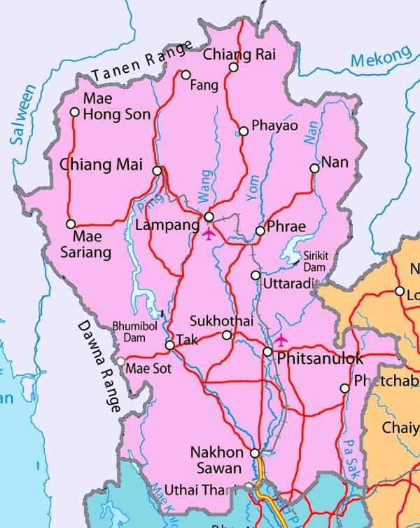 Mapa del Norte de Tailandia